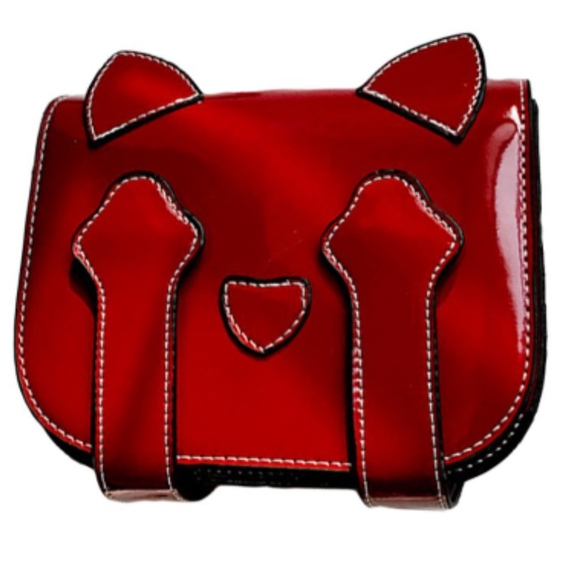 independent Handbags - NWT faux patent red crossbody bag cat girls women